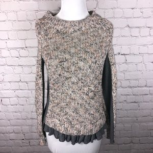 Moth (Anthropologie) Sweater Inset Ruffle Hem S